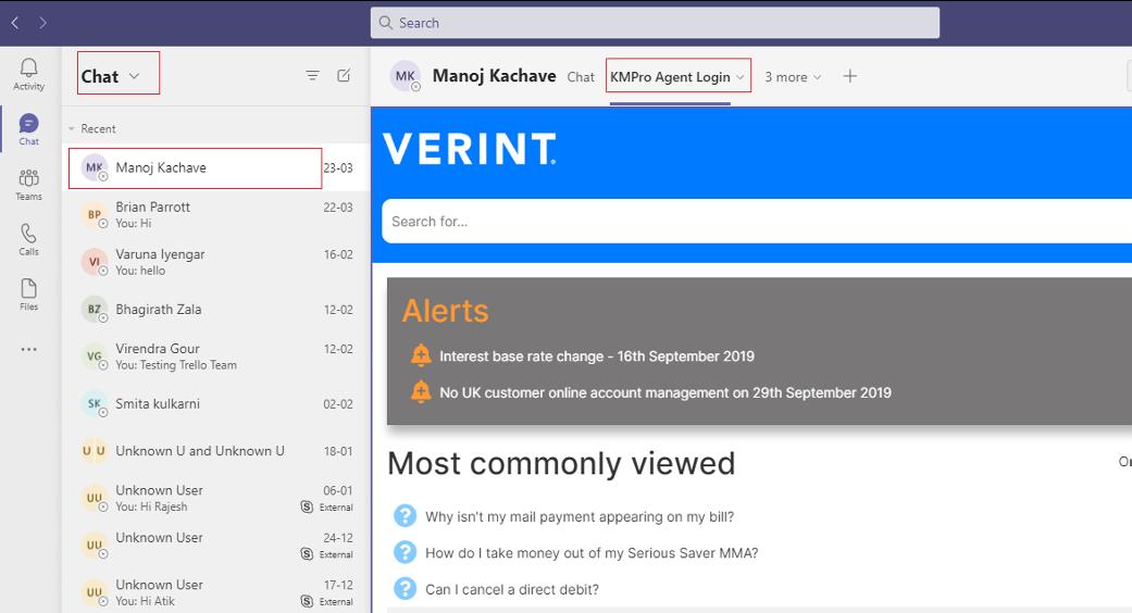 Verint Knowledge Management teams integration